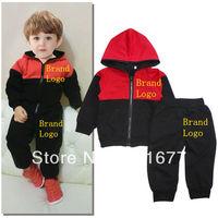 2 Pcs Brand Logo Red Black Long Sleeve Cotton Sport Hooded Coat + Pants Kids Casual Outerwear Children Clothing Set 6#13122909