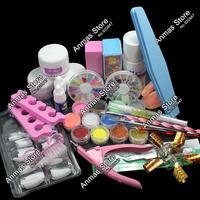 Nail Art Set Acrylic Liquid Glitter Powder File Brush Form Tips Tools DIY Kit