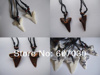 4pcs mix White/Dark Brown Faux Shark Tooth Teeth/Frog Pendant Necklace