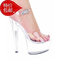 Fashion star 15cm ultra high heels 13 transparent crystal shoes high-heeled shoes sexy formal dress banquet female sandals