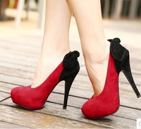 2014 new fashion  wedding shoes pointed toe high heels size 4 bow  platform women pumps A068 red flock black leather hot sale