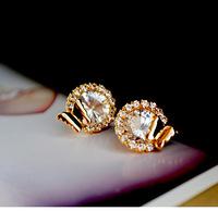 Free shipping more than $15+gift women jewelry circle full rhinestone butterfly crystal sexy earring classic fashion rhinestone