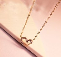 Free shipping more than $15+gift wishing rhinestone crystal love necklace chain heart beautiful gold silver summer good quality