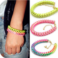 Sakura's Store B3242 Sweet multicolour silk knitted neon line spirally-wound metal chain bracelet