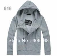 2014 men's cotton warm cardigan zipper hoodies sweetshirt  fleece thick  jacket gray black coffee S M L XL free shipping #A51