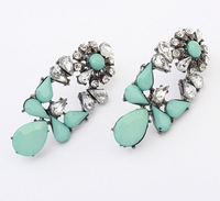 Vintage Style Fashion Personality Ear Piercing Rhinestone Studs Jewelry For Women Fluorescent Colors