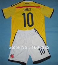 14 da Copa do Mundo no Brasil melhor qualidade Colômbia Home # 10 JAMES uniformes de futebol treinamento amarelo kits com calção Frete Grátis(China (Mainland))