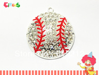Wholesae   45mm 10pcs/lot Silver Plated Baseball Rhinestone pendants