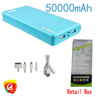 Factory outles 50000mAH Mobile Power bank High capacity sufficient capacity +5 mobile power adapter + 1 usb cable Freeship