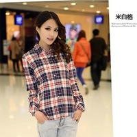 Autumn 2013 Korean version of the British Academy sleeved big yards thick flannel shirt ladies wear Mao Gezi shirt