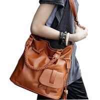 2014 New Korean Fashion Casual Retro Rattan Handles PU Leather Handbags Hand Bucket Punk Big Message Bags For Women