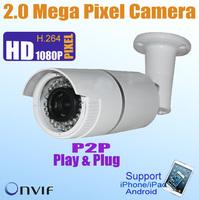 1/2.5'' CMOS Full 1080P Outdoor Waterproof 2 Megapixel bullet IP Camera P2P 1920*1080 ONVIF,POE optional Network IP CAM