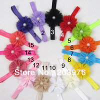 Baby /Newborn / Toddler shabby chic flower with beads Headband Free shipping 10pcs/lot free size fit 6months to 3 years