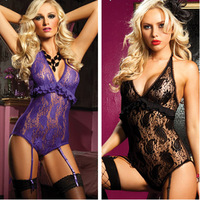 2014 New Arrival Strap Lace Sexy Lingerie Hot Sale Sexy Underwear Lady Teddy with Garter