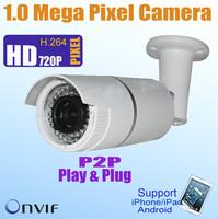 Full HD 720P CMOS Waterproof  1 Mega Pixel Network IP camera, P2P,ONVIF CCTV Security IP Camera Email Alarm,iPhone Android View