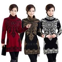 Autumn & Winter Fashion Cardigan women's medium-long sweater cashmere one-piece dress