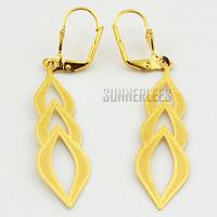 New Women Girl Fashion Jewelry Leaf Style Dangles 18K Yellow Gold Filled Drop Earrings Gold Jewellery Free Shipping GFE22