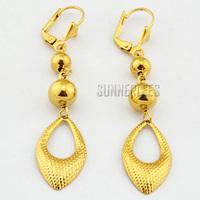 New  Women Girls Fashion Jewelry Beads Water Drop Dangles 18K Yellow Gold Filled Drop Earrings Free Shipping GFE23