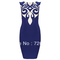 Free shipping 2014 BLUE PRINT DRESS bandage Celebrity dress Cocktail Party Dresses HL