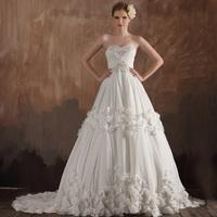 Dora 2013 new arrival romantic aesthetic tube top long trailing flower chiffon wedding dress dn5036