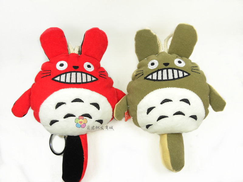 Hot-selling new year doll pull type computer embroidery double faced two-color totoro key wallet(China (Mainland))