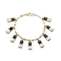 NEW 2014 Fashion Brand Vintage Jewelry Gold Plated Imitated Crystal Diamond Charm Bracelet for Women B034. Free Shipping
