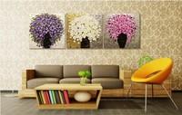 DIY Digital Oil Painting  by number on canvas Splendid 40*40cm* 3 Piece  set kits Modern  flower purple picture art decoration