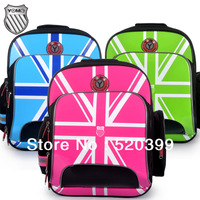 2014 New Yome orthopedic primary school bag children/kids shoulder  backpack with Hard Back high quality UK flag
