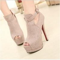 Free shipping fashion shoes  2014 new new ultra-high heel 14CM double waterproof shoes high-top shoes fish head women shoes