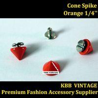 "25pc Fashion Cone Screwback Spikes stud Rock Leather Craft 1/4"" Orange----Free  Shipping"
