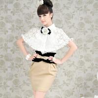 2013 spring  white lace ruffle cape women's  shirt Shawl models blouse size S