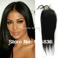 "Bleached knots natural straight  brazilian virgin hair  lace  closure 4""*5"""