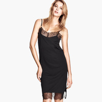 Fashion shoulder strap dress one-piece dress lace on both sides of the short vent 6 size full