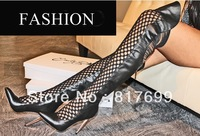 2014 New Design Women Fashion Over Knee Gladiator Boots Pointed Toe Genuine Leather Cut-out High Heel Boots Spring Boots