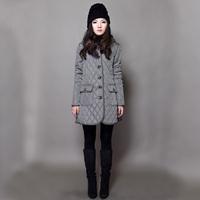 Original design medium-long outerwear long design women's loose wadded jacket plaid thermal cotton-padded jacket cotton-padded