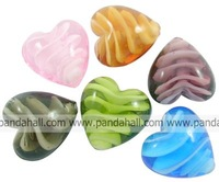 Handmade Lampwork Beads Mother's Day Jewelry Making Heart Mixed Color 20mm wide 20mm long 12mm thick