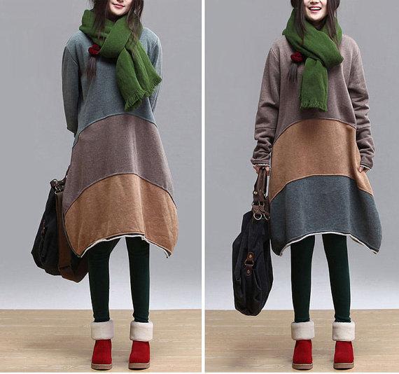 style elegant one piece dress long dress long sleeve irregular loose