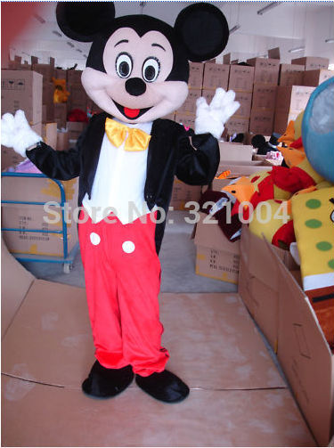 Adultos mascota de mickey mouse traje de la mascota de mickey cosplay para la navidad y halloween party+free shipping+factory precio al por mayor