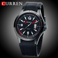 2014 CURREN FASHION  ANALOGUE MEN'S SPORT WATCHES QUARTZ  HOURS CLOCK DIAL DATE BLACK RUBBER MILITARY STYLE WRIST WATCH