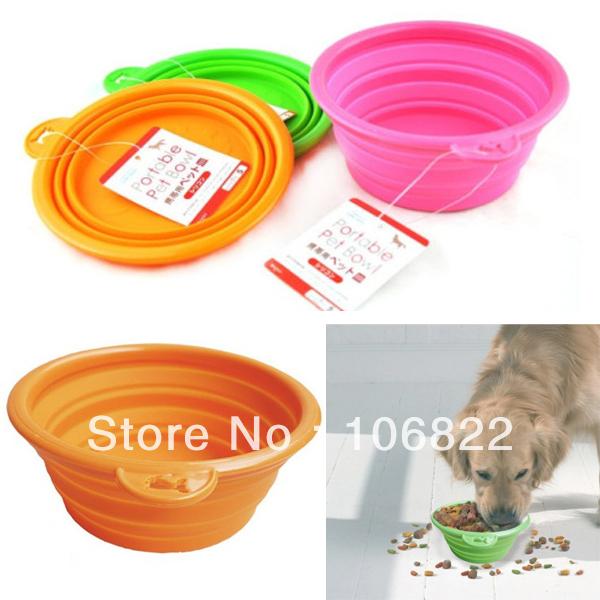 Pet Dog Cat Fashion Silicone Collapsible Feeding Water Feeder Travel Bowl Dish LX0117 Free shipping&DropShipping(China (Mainland))