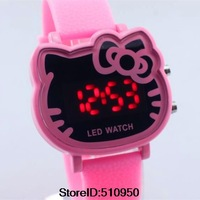 New Arrive Items Cute pink Hello kitty Led Digital Watch For Women / Girls Fashion Wrist Watch Hours Best Gift 5 Colors