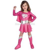 Children hot pink superman girl dress halloween cosplay party super hero costume with cape,boots,belt Christmas gitts D-1147
