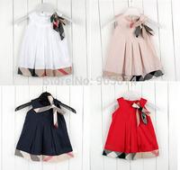 wholesale Fashion Baby girl dresses kids summer plaid dress, baby girls party dress baby sleeveless princess dress 5pcs/lot