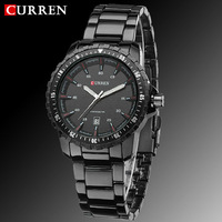 2014 Luxury New Curren Quartz Full Stainless Steel Black Business Man Men's Sports Watch Auto date Waterproof Military Watches