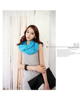 2013 Hot fashion Korean women  pure color multicolor ramie cotton yarn long scarf free shipping~wsgh121607