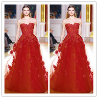 Zuhair Murad 2014 Spring Strapless Appliqued Crystals Ball Gown Evening Prom Dresses Celebrity Dresses Red  Party Gowns ZU2424