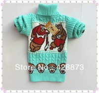 2014 spring and autumn children 2 bears sweater  boys and girls solid color sweater with bear print mint color  2 - 6 years old