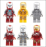 Iron Man Series Figures 6pcs/lot Building Block Sets Minifigures Educational DIY Bricks Toys Without Original Box
