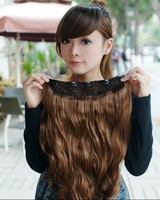 "Free Shipping sale Fashion 5 clip-in hair extension 40-50"" long curl hairpiece use heat-high quality 801"