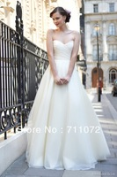 Charing Simple Popular Wholesale Custom Made A Line White Beading Net Long Informal Backless Wedding Dress 2014 For Sale